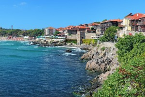 View of Old Town of Sozopol with Southern Fortress Wall and Tower, Bulgaria